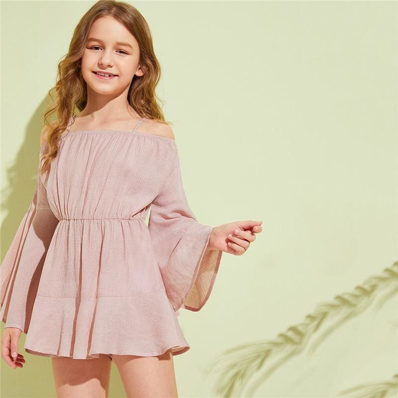 Girls Pink Solid Cold Shoulder Girls Boho Jumpsuit - Pink / 9T - Girl Romper