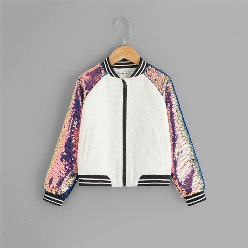 Girls Sequin Raglan Sleeve Zipper Slogan Letter Jacket - Multi / 6T - Girl Coat