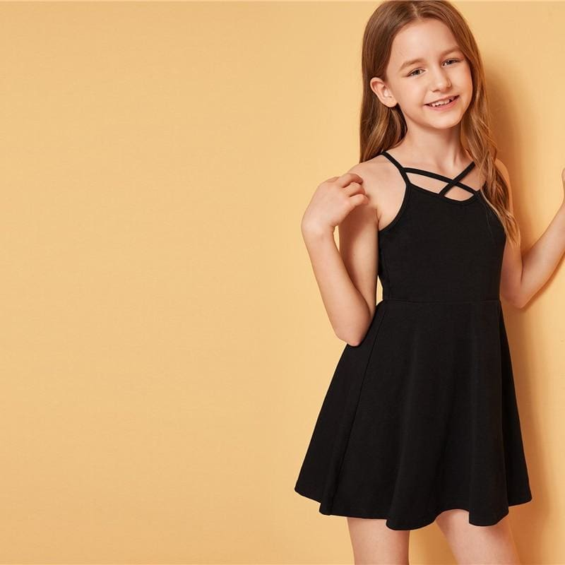 Girls Solid Crisscross Front Flared Dress - Black / 12T - Girl Dresses