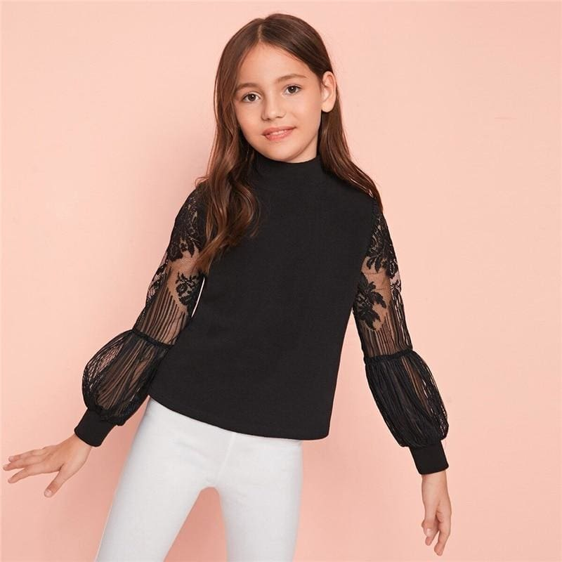 Girls Solid Stand Collar Contrast Lace T-Shirt - Black / 10T - Girl T-Shirt