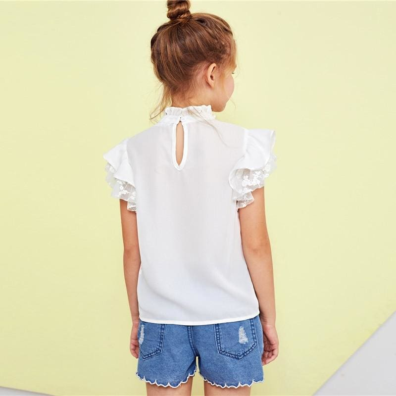 Girls Stand Collar Bow Front Mesh Insert Ruffle Top - White / 6T - Girl T-Shirt