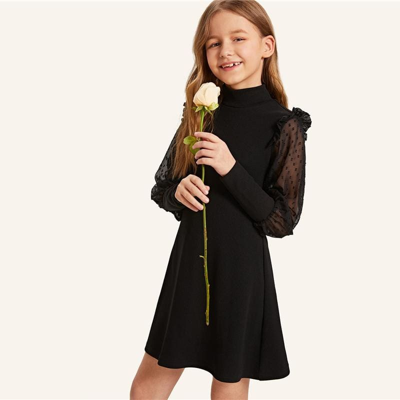 Girls Stand Collar Keyhole Back Button Elegant Dress - Black / 8T - Girl Dresses