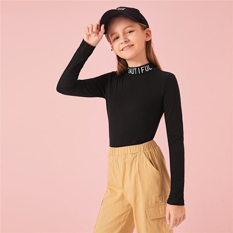 Girls Stand Collar Letter Print Form Fitted T-Shirt - Black / 7T - Girl T-Shirt