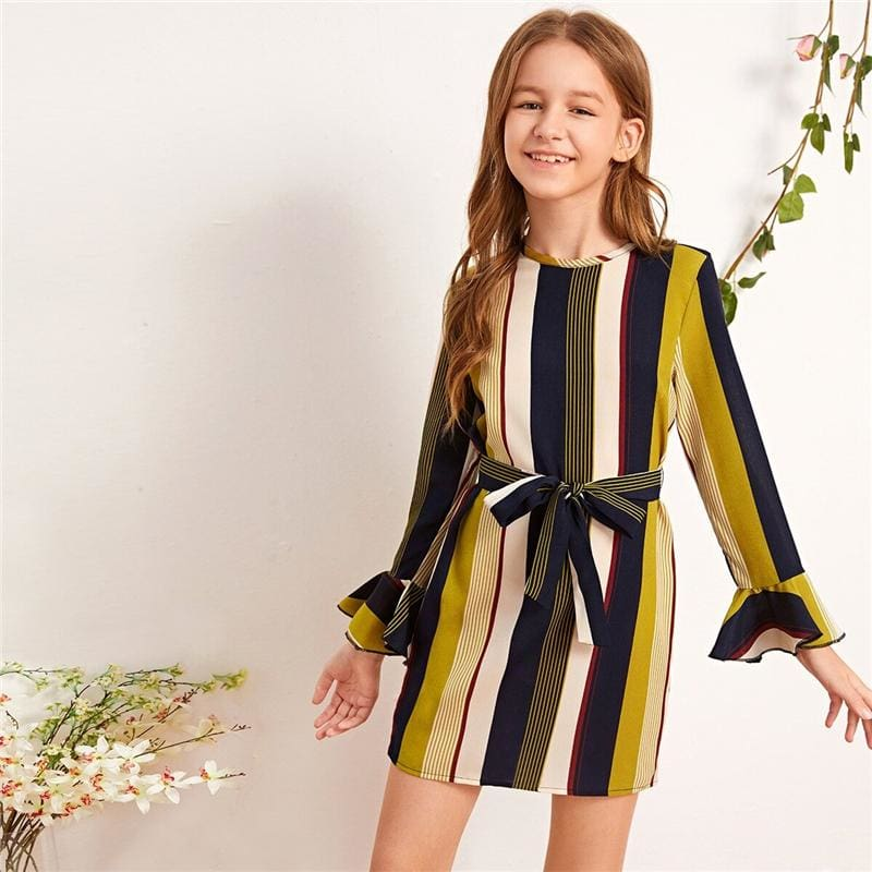 Girls Striped Tunic Dress With Belt - Multicolor / 12T - Girl Dresses
