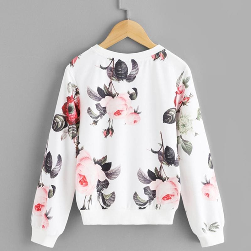 Girls White Floral Print Sweatshirt - White / 6T - Girl Sweatshirt