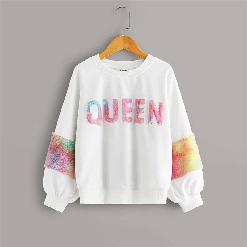 Girls White Letter Print Faux Fur Detail Sweatshirts - White / 12T - Girl Sweatshirt