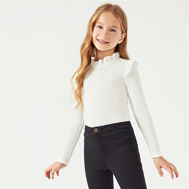 Girls White Solid Frilled Neckline T-Shirt - White / 6T - Girl T-Shirt