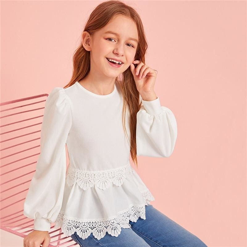 Girls White Solid Guipure Lace Trim Girls Cute Blouse - White / 9T - Girl Blouse