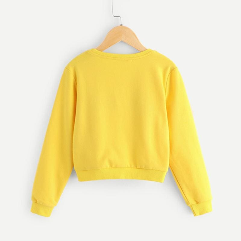 Girls Yellow Eye and Eyelash Print Cute Sweatshirts - Yellow / 6T - Girl Sweatshirt