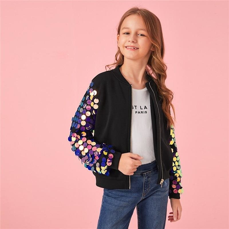 Girls Zipper Contrast Sequin Sleeve Bomber Jacket - Black / 12T - Girl Coat