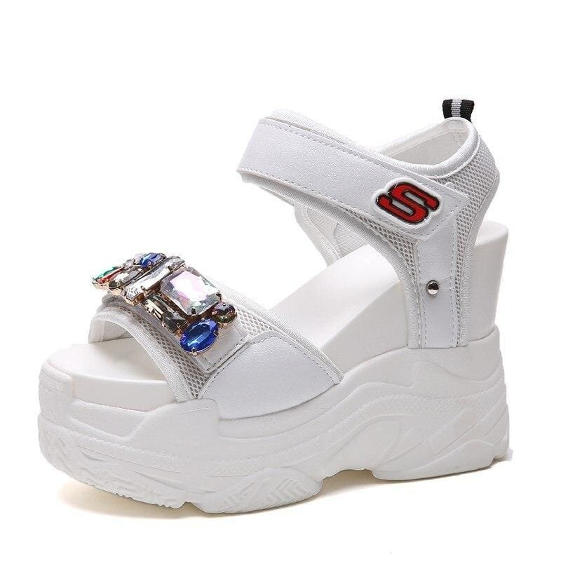 Gladiator Rhinestone Platform Sandals - White / 4 - Womens Sneakers