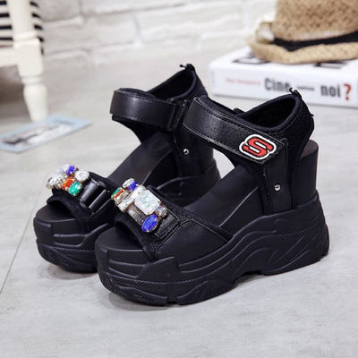 Gladiator Rhinestone Platform Sandals - Womens Sneakers