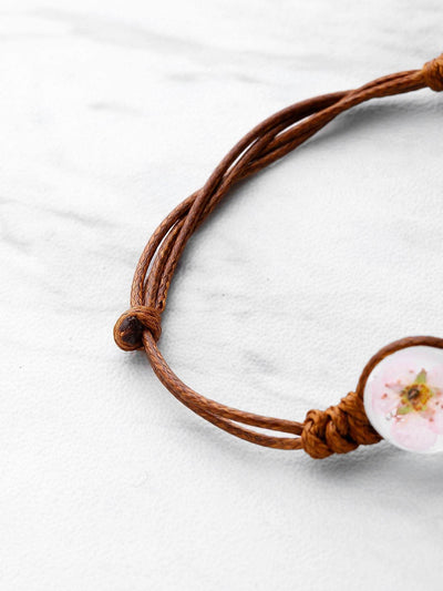 Glass Flower Design Knot Bracelet - Bracelets