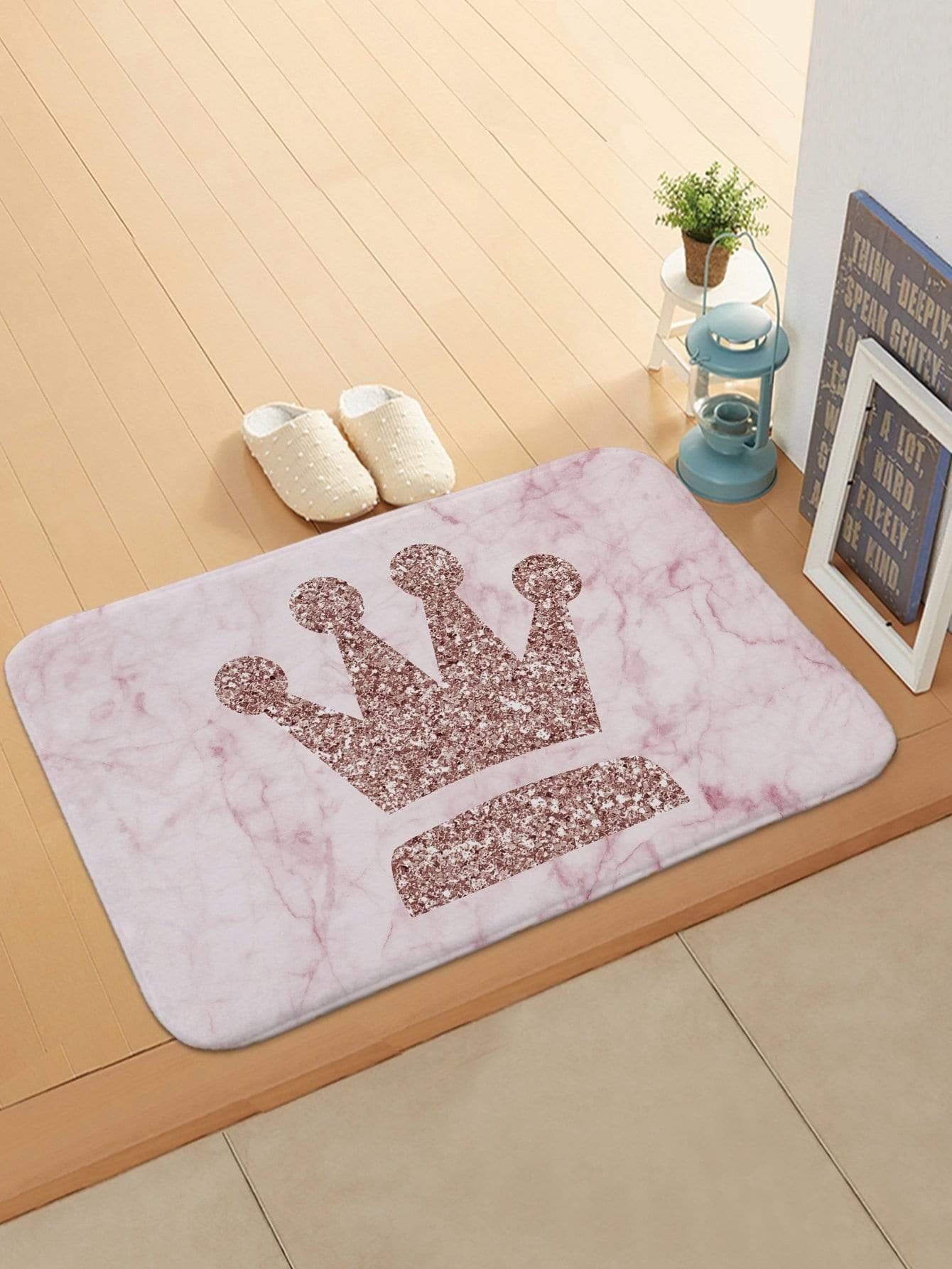 Glitter Crown Pattern Doormat - One-Size / Pink - Rugs & Mats
