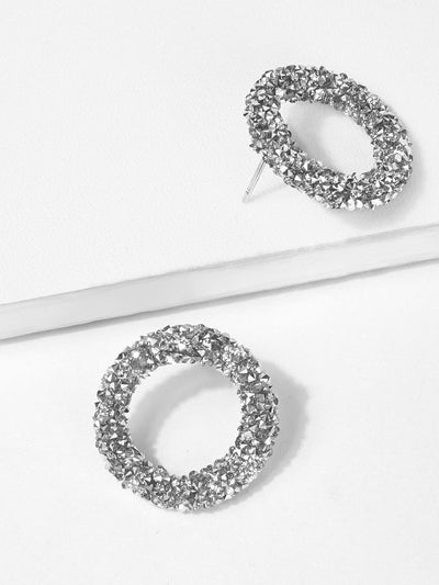 Glitter Hoop Stud Earrings - Earrings