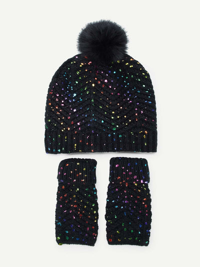 Glitter Knit Hat & Gloves 3Pcs - Hats & Gloves