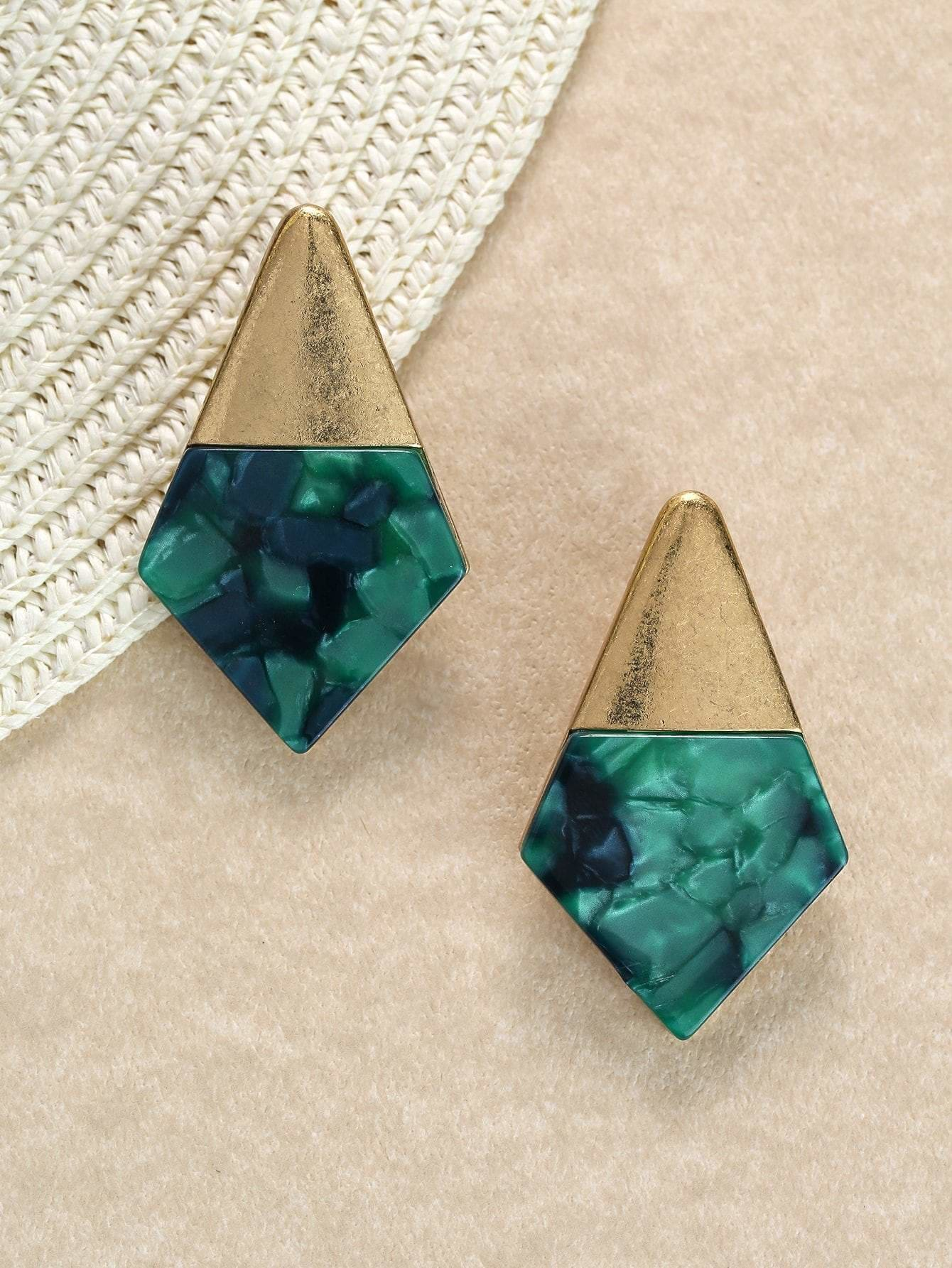 Gold And Stone Detail Diamond Shaped Earrings - Earrings
