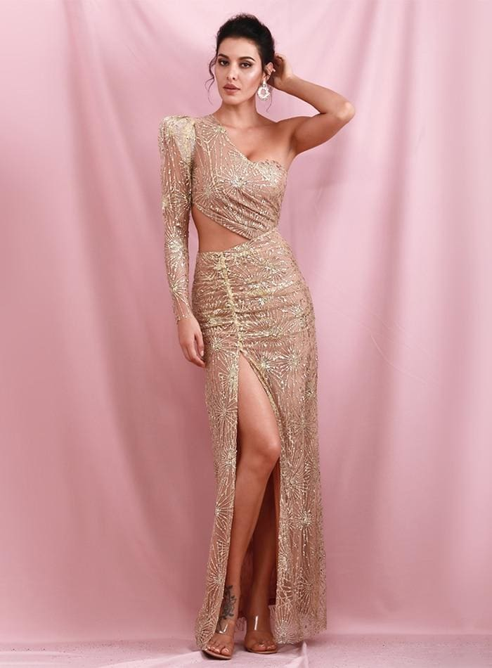 Gold Bare Shoulders Cut Out And With Split Lattice Sequin Maxi Dress