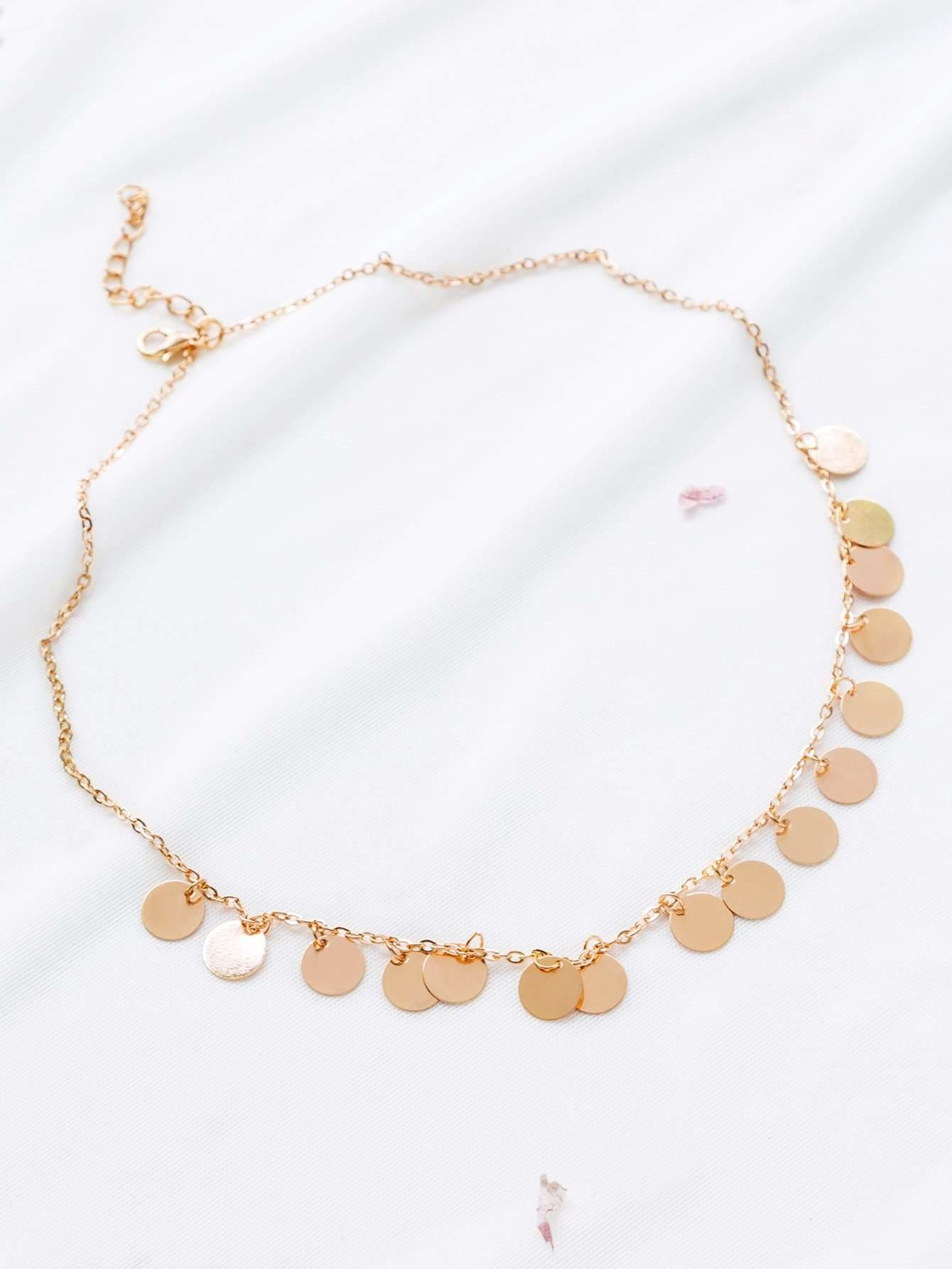 Gold Coin Fringe Statement Necklace - Necklaces