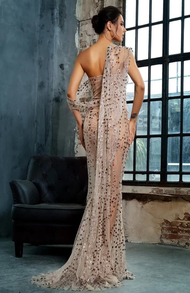 Gold Cross Cut Out Straps Glitter Glued Sequin Prom Maxi Dress