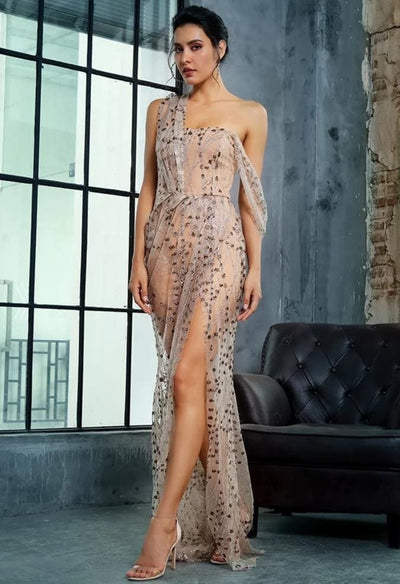 Gold Cross Cut Out Straps Glitter Glued Sequin Prom Maxi Dress - Dresses