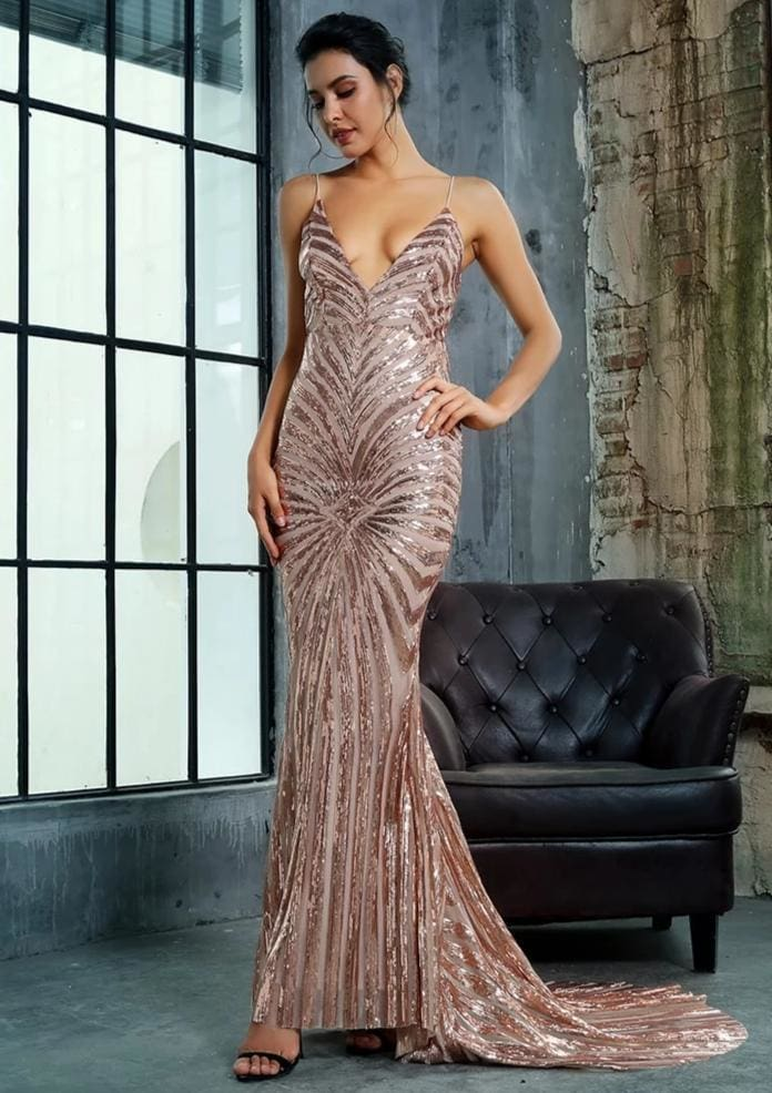 Gold Deep V Neck Open Back Geometry Sequins Maxi Dress