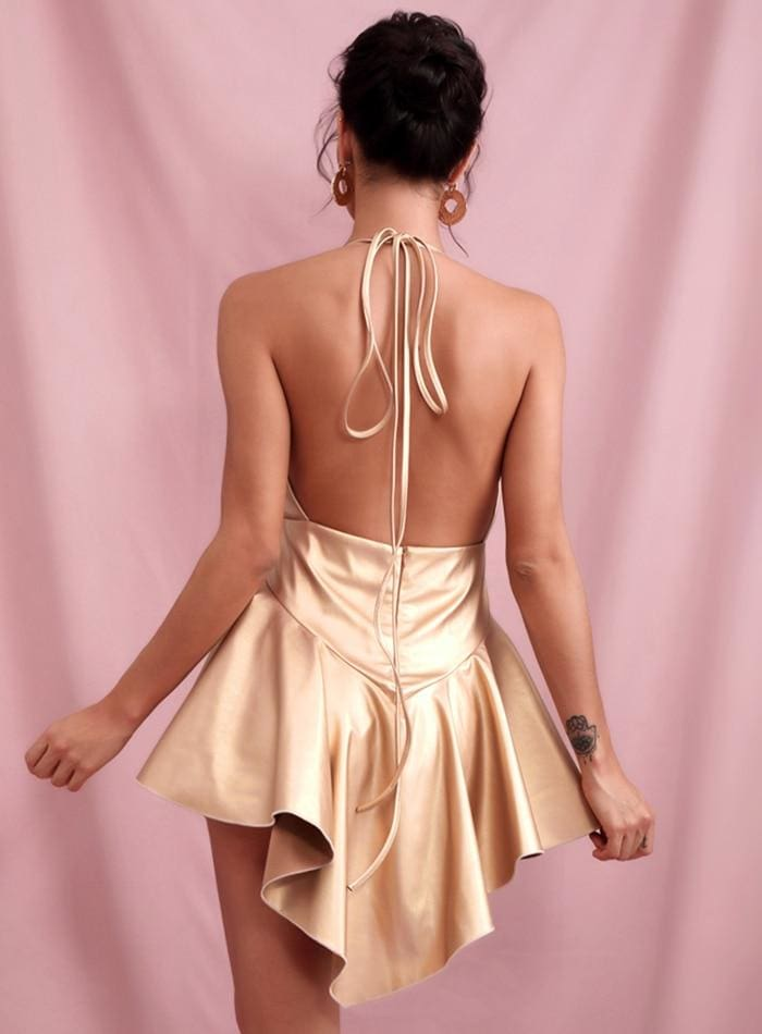 Gold Deep V-neck Open Back Ruffled PU Mini Party Dress