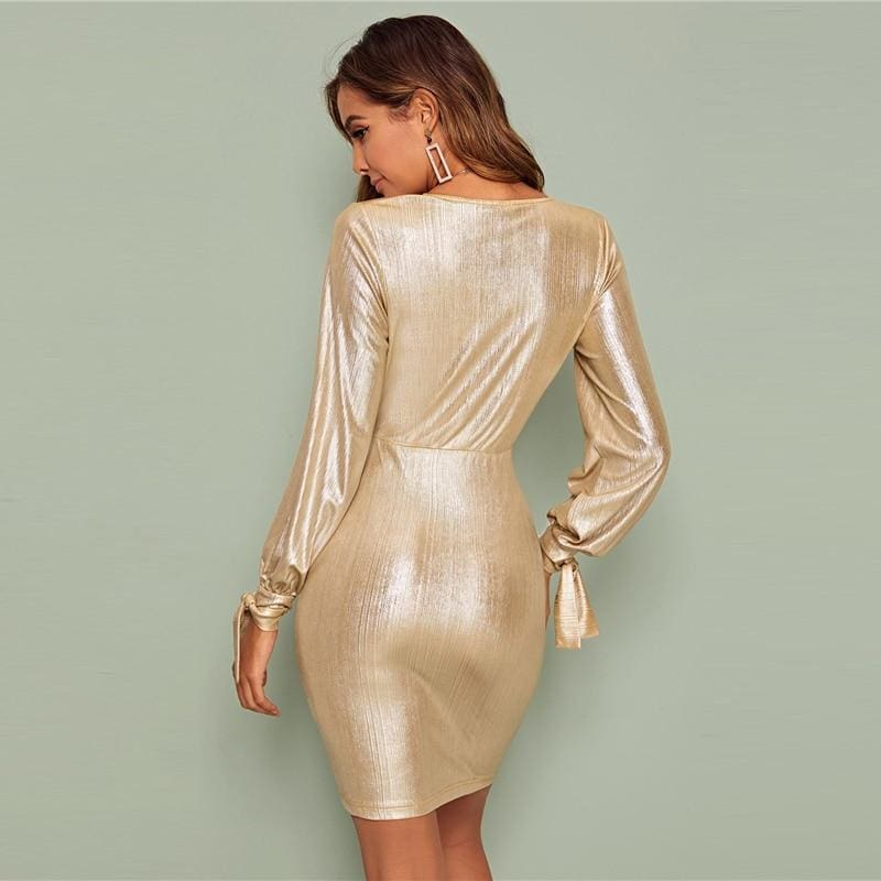 Gold Deep V Neck Ruffle Metallic Going Out Mini Dress - Gold / XS - Dresses