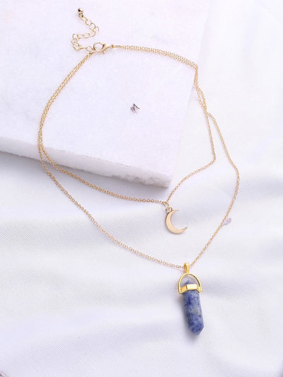 Gold Double Chain Moon Pendant Necklace - Necklaces