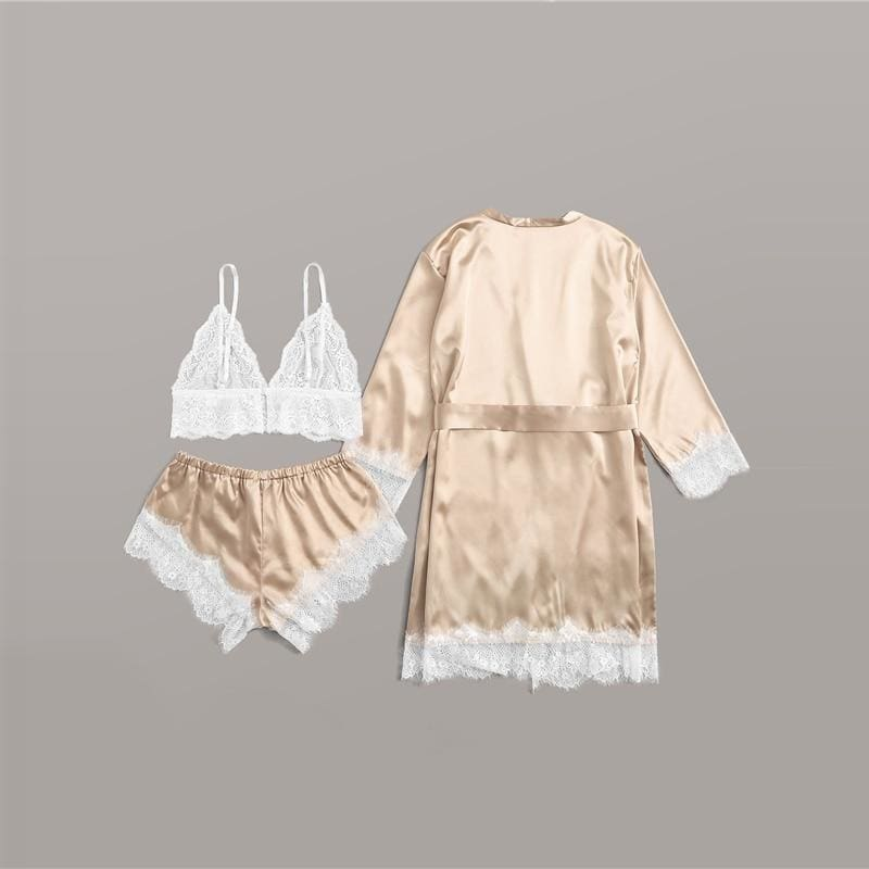 Gold Floral Lace Satin Lingerie Set With Robe - Gold / XL - Nightwears