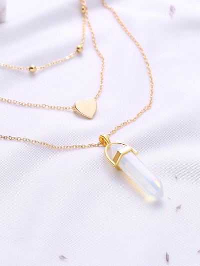 Gold Heart Pendant Layered Chain Necklace - Necklaces
