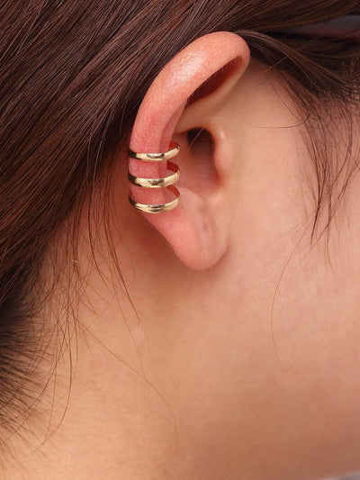 Gold Hollow Out Ear Cuff - Earrings