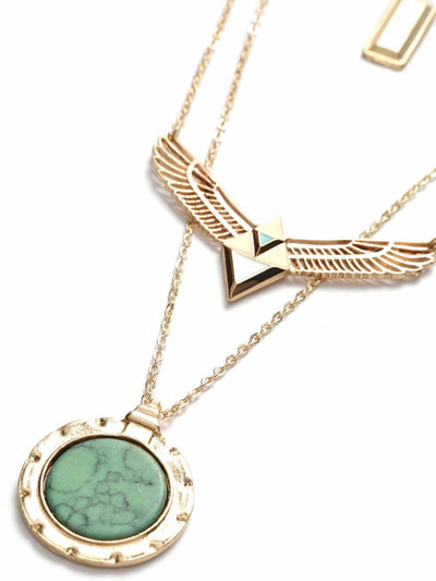 Gold Layered Turquoise Pandent Wing Shape Necklace - Necklaces
