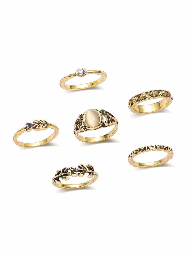 Gold Leaf Shaped Ring Set - Rings