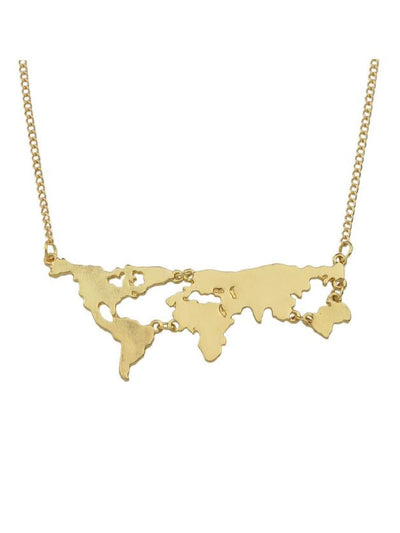 Gold Map Shape Pendant Necklace - Necklaces