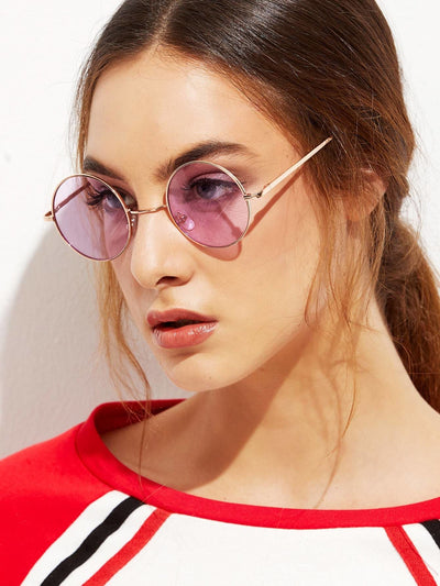 Gold Metal Frame Round Sunglasses - Sunglasses