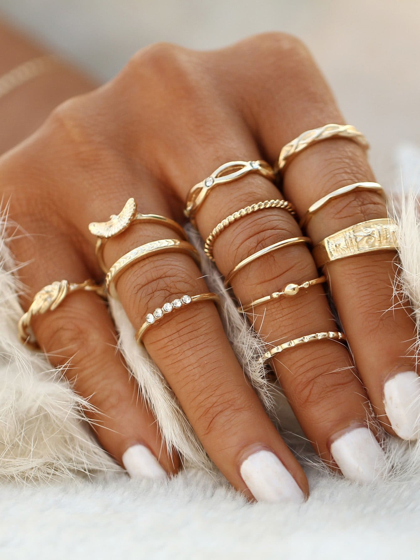 Gold Plated Embellished Ring Set - Rings