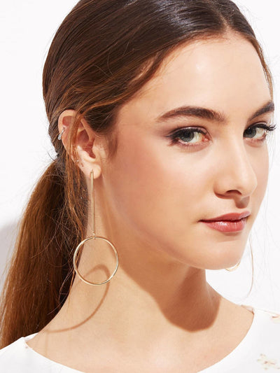 Gold Plated Hollow Circle Bar Long Drop Earrings - Earrings