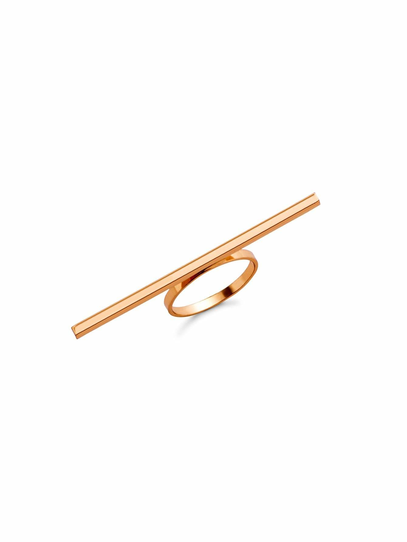 Gold Plated Horizontal Bar Ring - Rings