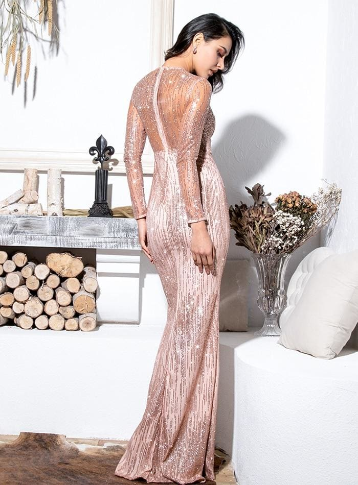 Gold Round Neck Perspective Back Bodycon Sequin Prom Maxi Dress