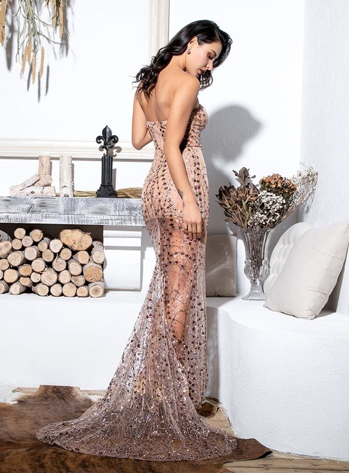 Gold Strapless Cut Out Geometric Sequin Prom Maxi Dress