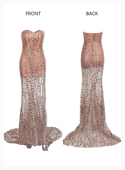 Gold Strapless Cut Out Geometric Sequin Prom Maxi Dress - Dresses