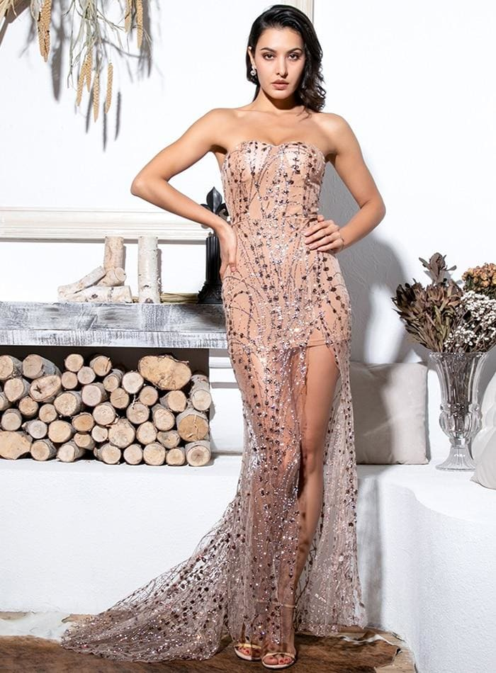 Gold Strapless Cut Out Geometric Sequin Prom Maxi Dress - GOLD / XS - Dresses