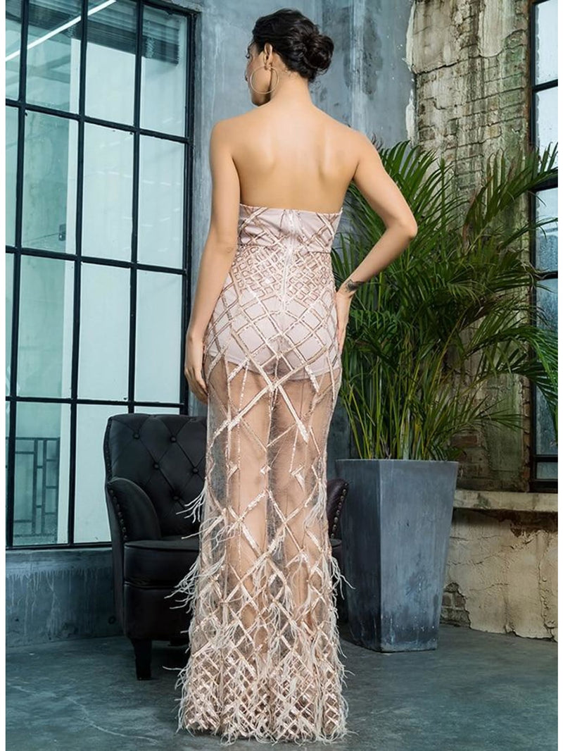 Gold Strapless Geometric Sequins Prom Maxi Dress