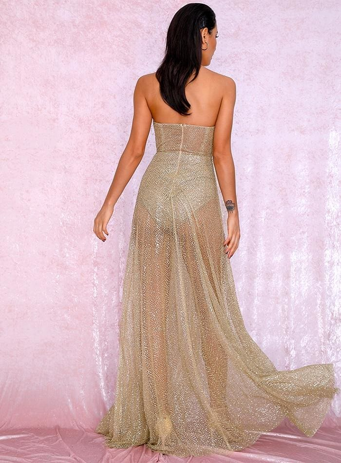 Gold Strapless Tube Top Sequin Split Poncho Maxi Dress