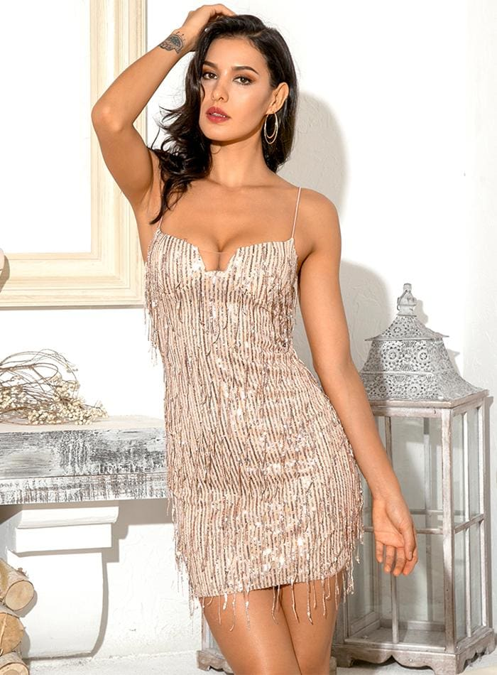 Gold Tube Top Sequin Bodycon Party Mini Dress - GOLD / S - Dresses