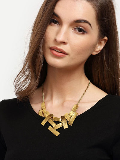 Golden Asymmetrical Geometric Pendant Necklace - Necklaces