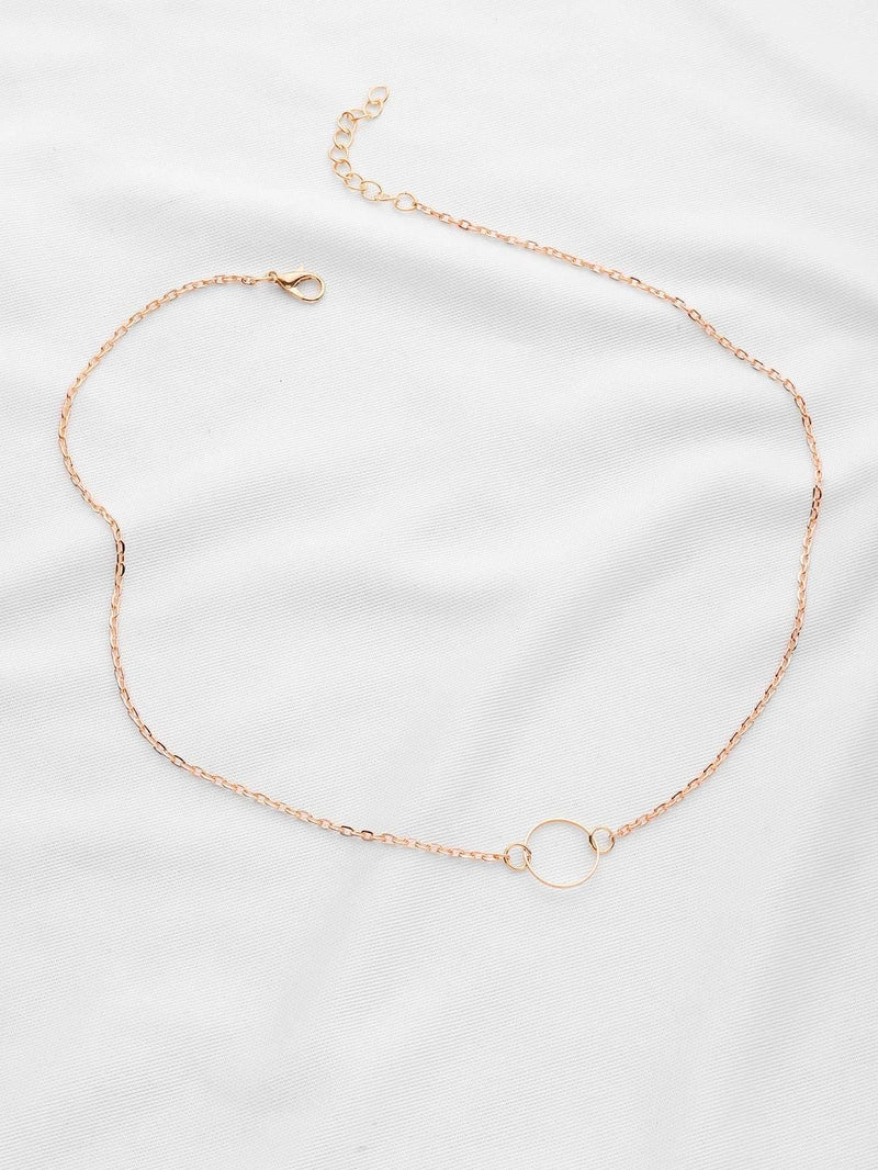 Golden Ring Pendant Chain Link Necklace - Necklaces