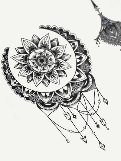Graphic Tattoo Sticker Two Sheets With Glue 3Pcs - Beauty Tools