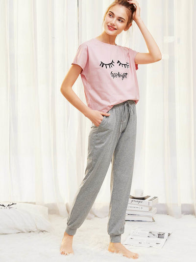 Graphic Tee And Heathered Sweatpants Pj Set - Nightwears